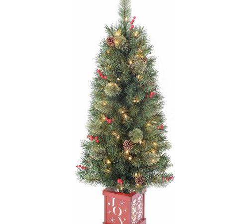Holiday Time Pre Lit Porch Tree Green Clear Lights