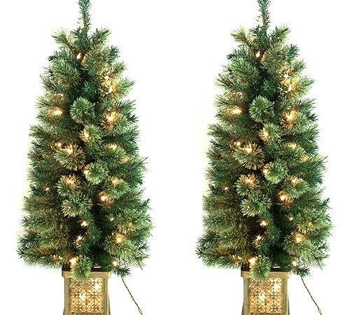 Holiday Time Pre Lit Topiary Trees Walmart