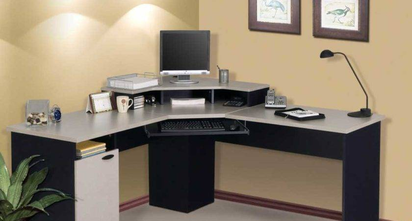 Home Office Corner Computer Desk Black Grey