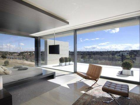 House Big Windows Swimming Pool Madrid Spain