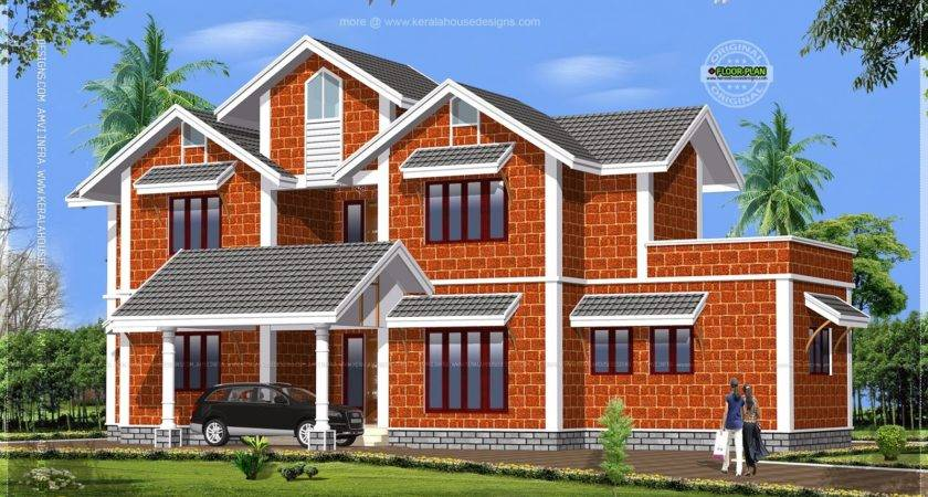 House Made Laterite Stone Kerala Home Design