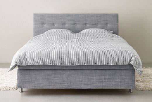 Ikea Arviksand Grey Textile Double Bed Buttoned