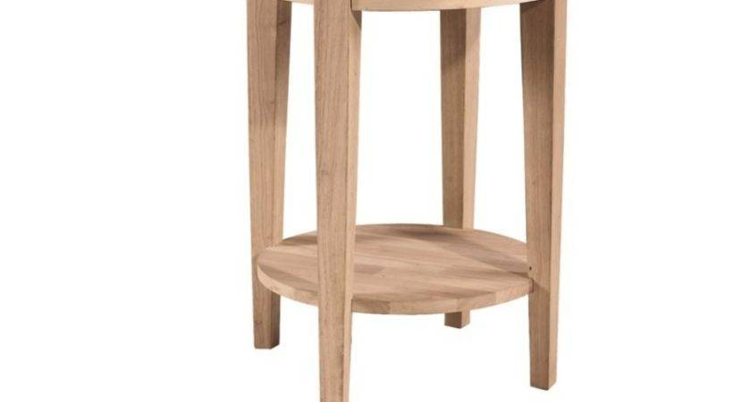 Inch Phillips Round Bedside Table Bare Wood Fine