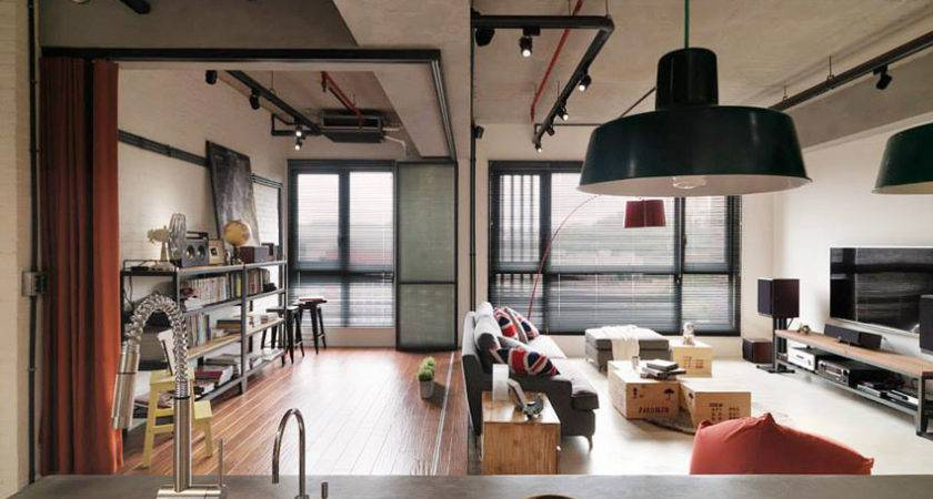 Industrial Loft Apartment Red Accents Taipei