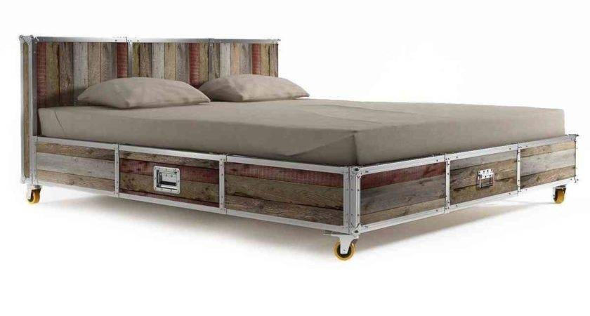 Industrial Style Wood Iron King Bed Frame Caster