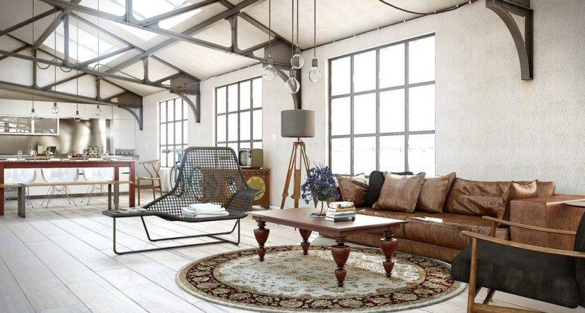 Industrial Utilitarian Living Space Interior Design Ideas