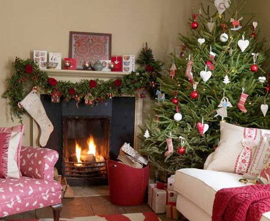 Inspiring Christmas Shabby Chic Living Room Decorating