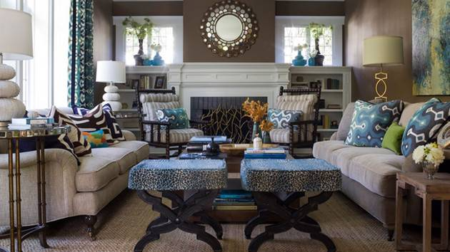 Interesting Combination Brown Blue Living Rooms