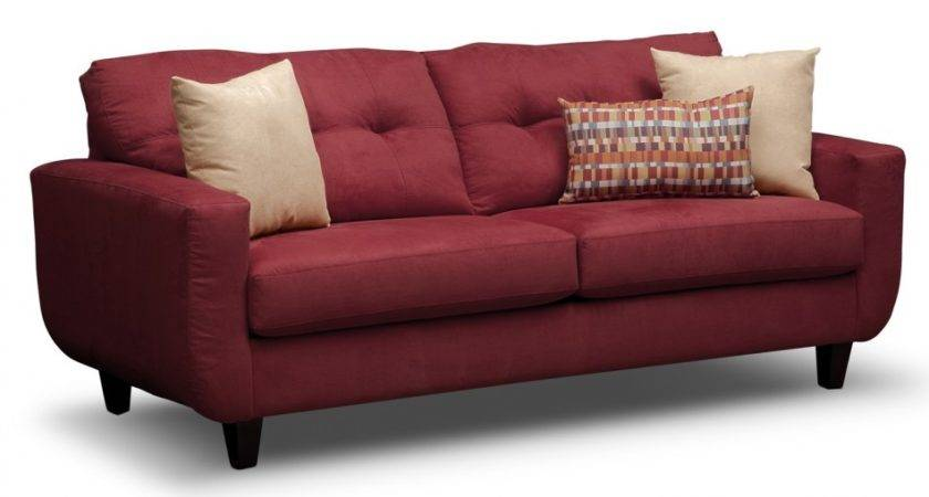 Interesting Solid Red Upholstery Couches Design Sale