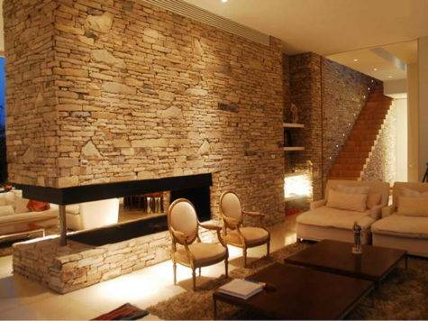 Interior Stone Walls Living Room Designs