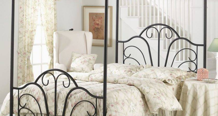 Iron Canopy Bed Frame King Four Poster Rails