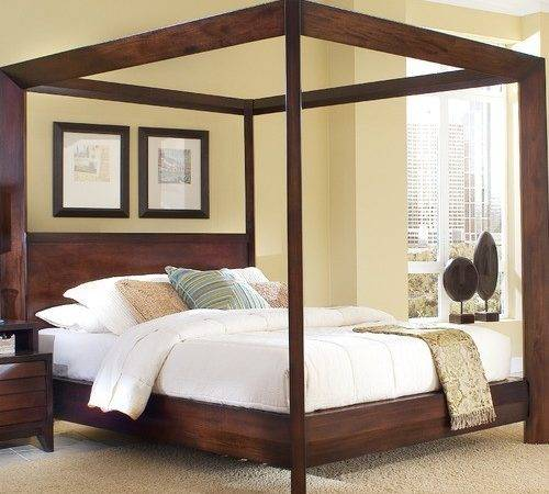 Island Chamfer Canopy Bed Modern Beds