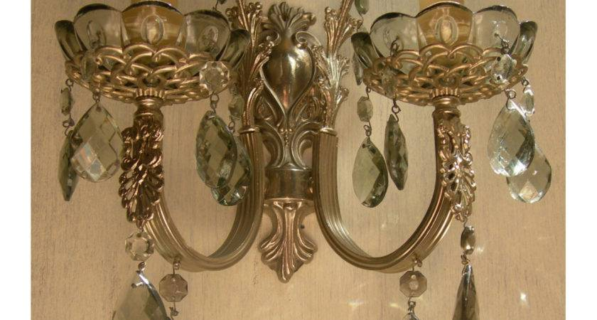 Italian Antique Silver Bronze Smokey Crystal Wall