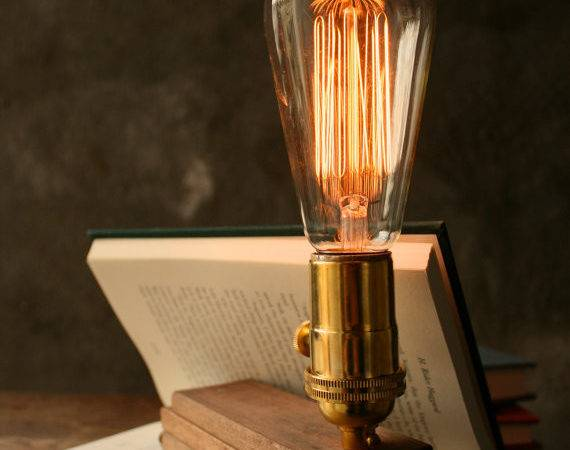 Items Similar Wood Lamp Diy Book Industrial Light