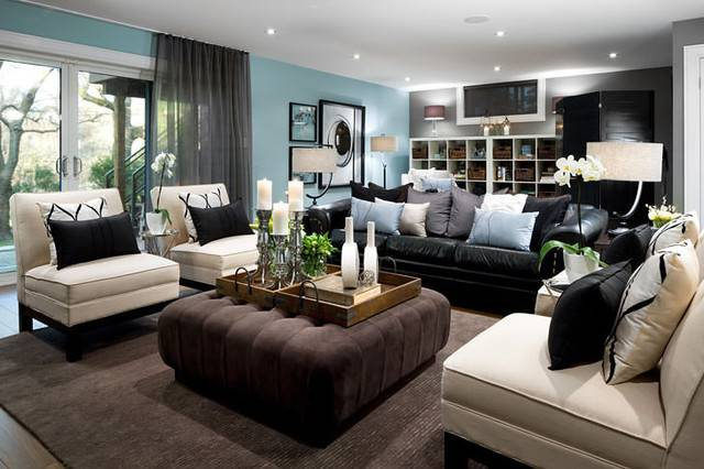 Jane Lockhart Blue Basement Living Room Modern