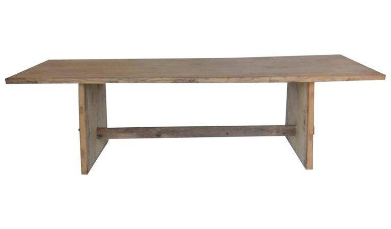 Japanese Naturally Bleached Elmwood Trestle Table Stdibs