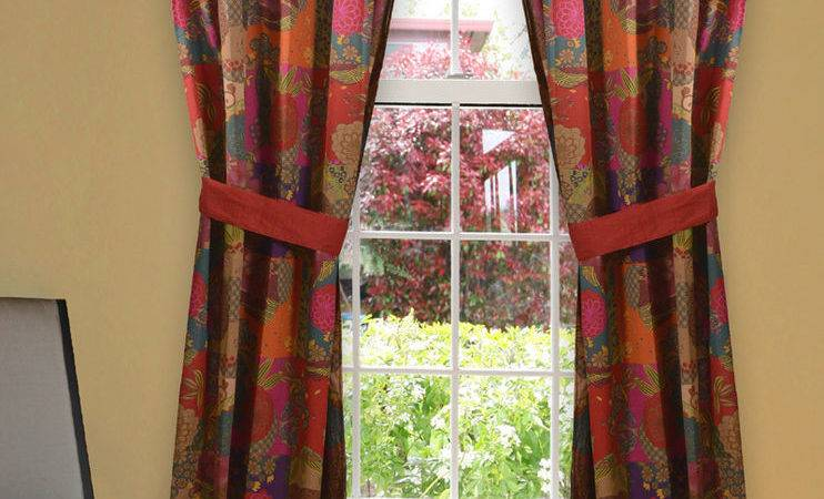 Jewel Red Window Panel Drapes Moroccan Boho Floral