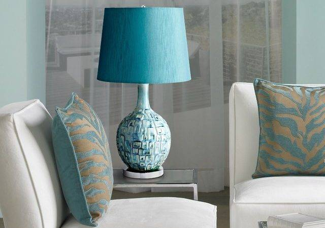 Jordan Teal Ceramic Table Lamp Contemporary Living