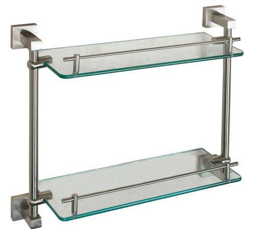 Jordyn Brushed Nickel Double Glass Shelf Barclay Products