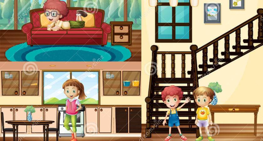 Kids Different Rooms House Vector