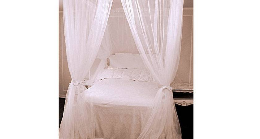King Bed Canopy Chiffon Curtains Four Poster