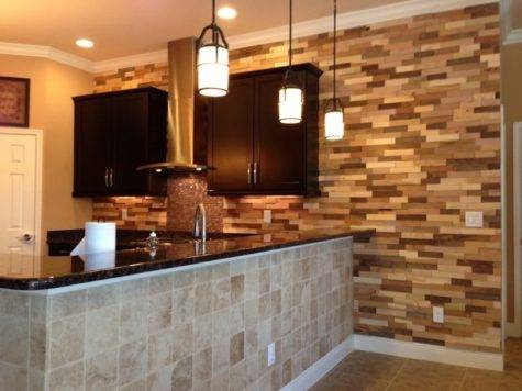 Kitchen Remodel Wood Accent Wall Contemporary