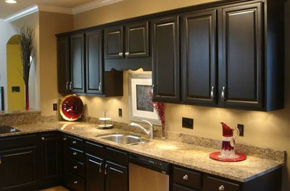 Kitchen Trends Distressed Black Cabinets