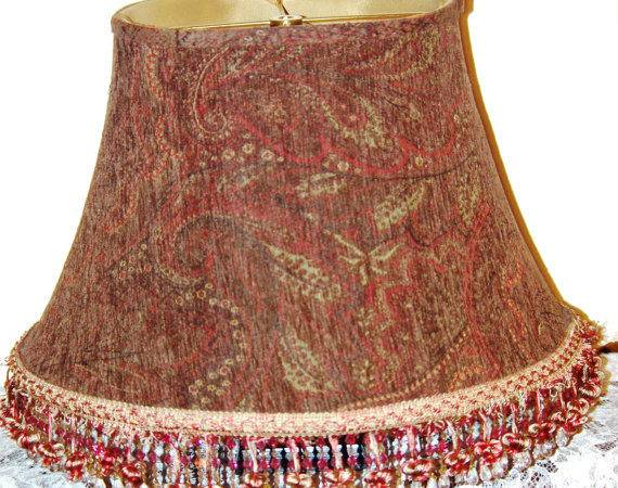 Lamp Shade Supplies Large Brown Red Print
