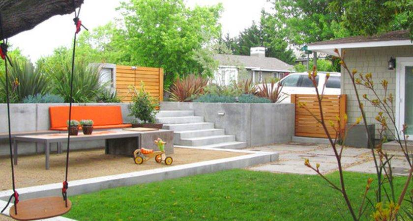 Landscape Simple Minimalist Sloping Backyard Easy