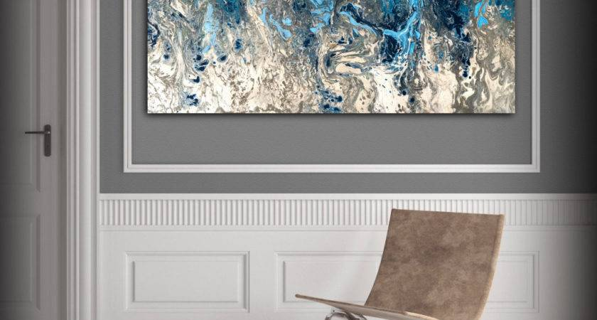 Large Abstract Painting Print Navy Blue Art Canvas