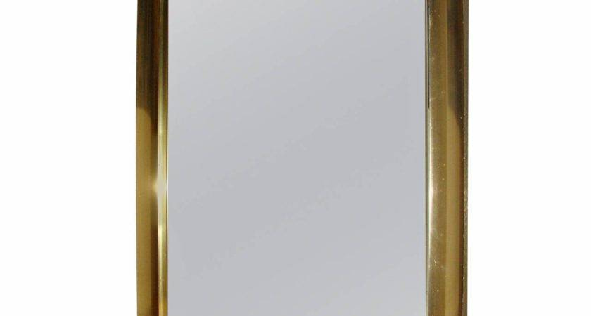 Large Scale Mid Century Brass Wall Hanging Mirror