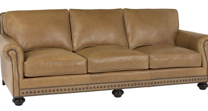 Leather Pillow Back Sofa Rolled Arms Nail Trim