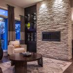 Ledgestone Fireplace Living Room Contemporary Coffee