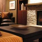 Ledgestone Fireplace Living Room Contemporary