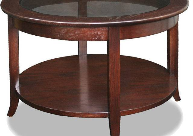 Leick Solid Wood Round Glass Top Coffee Table
