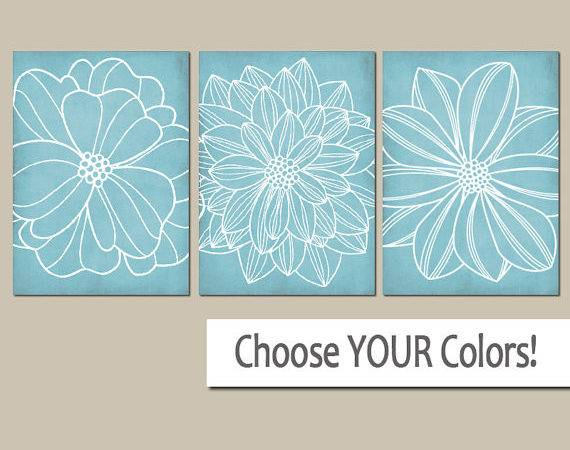 Light Blue Bathroom Wall Art Canvas Prints Bedroom