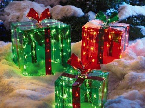 Lighted Outdoor Gift Boxes Set Christmas Tree