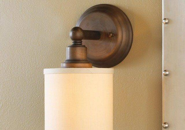 Linen Drum Shade Bath Light Sconce Bronze Chrome