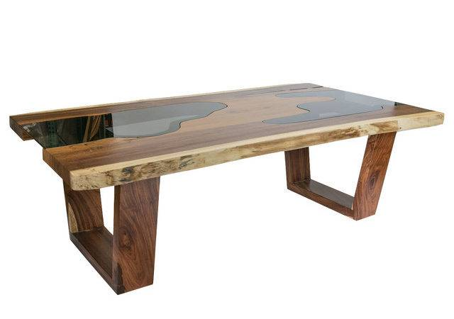 Live Edge Solid Wood Slab Dining Table Glass Inserts