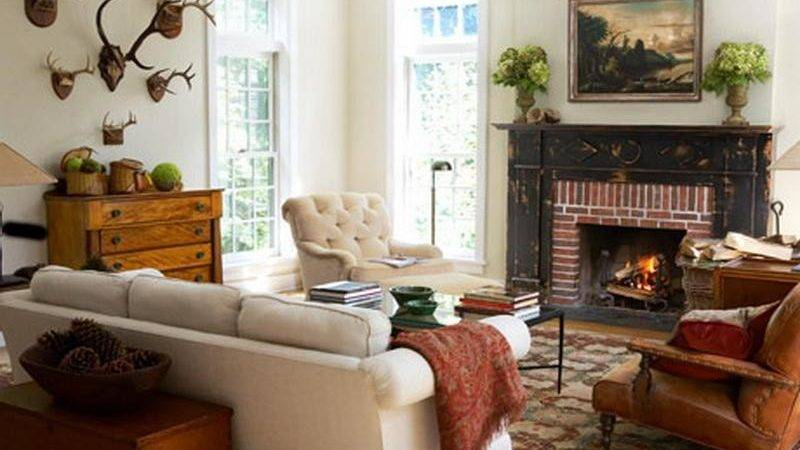Living Room Rustic Fireplace Decorating