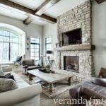 Living Rooms Stacked Stone Fireplace Design Ideas