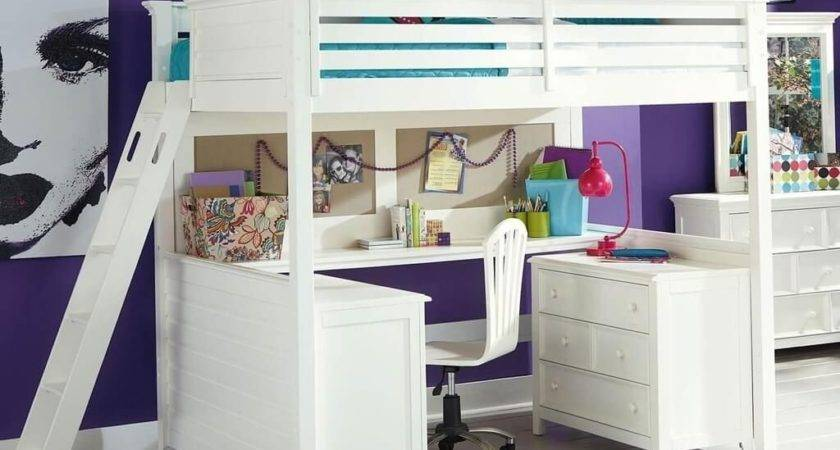 Loft Bed Stairs White Desk
