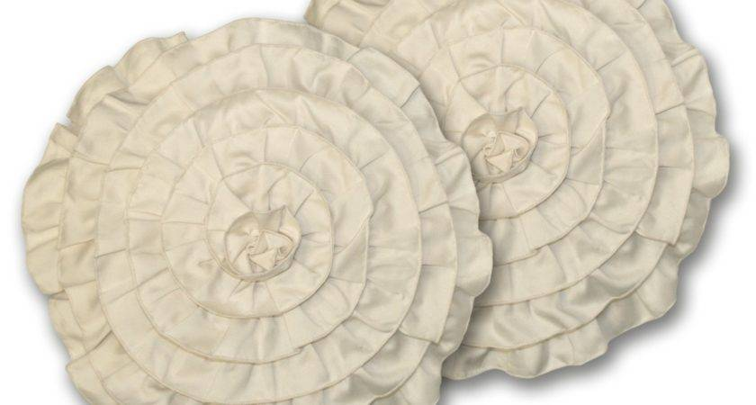 Lush Decor Lucia Round Ivory Decorative Pillows Set