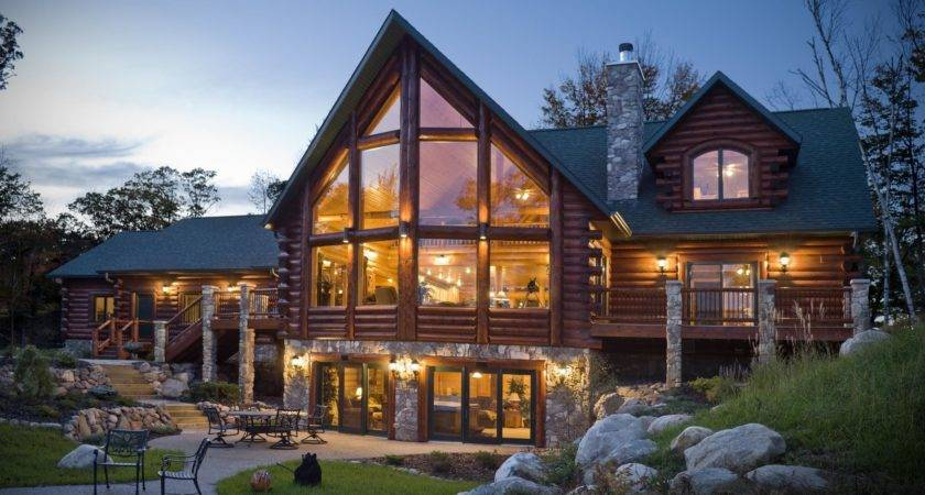 Luxury Architecture Design Log Home Made Stone