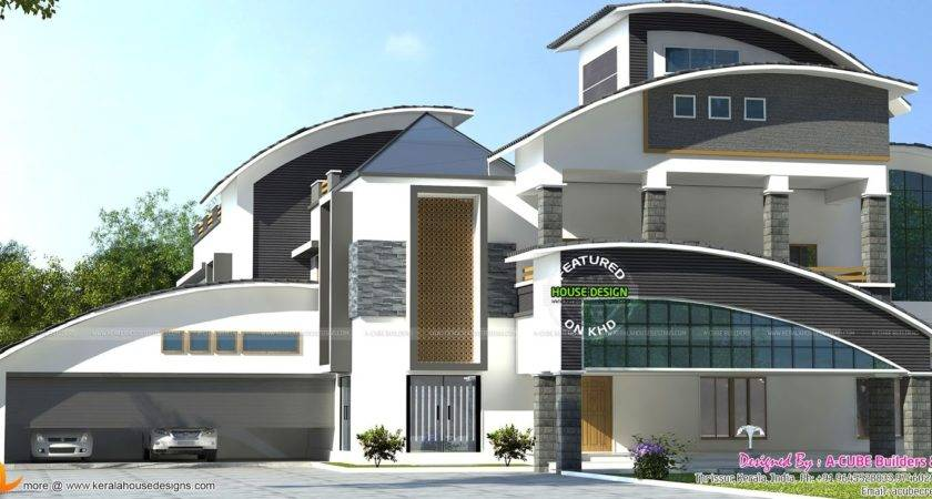 Luxury Curved Roof Home Architecture Kerala Design