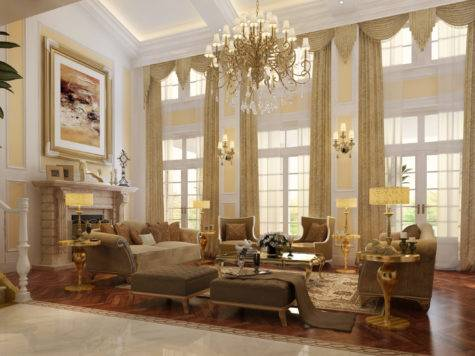 Luxury Living Room Fireplace Model Max Cgtrader