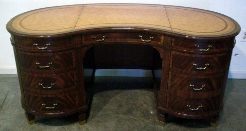 Maitland Smith Leather Top Kidney Shaped Desk