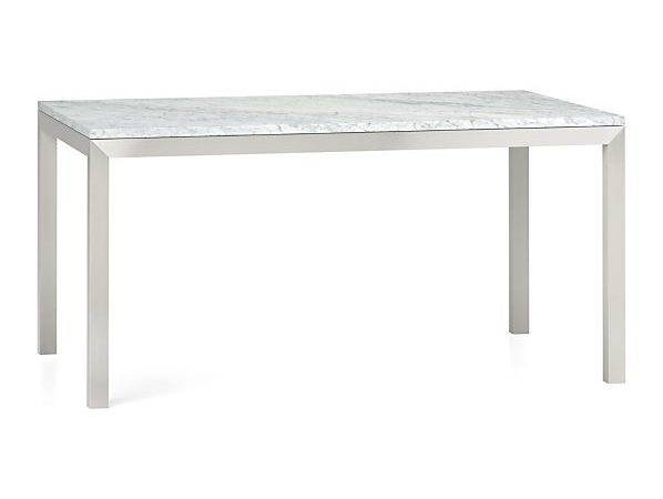 Marble Top Stainless Steel Base Parsons Dining