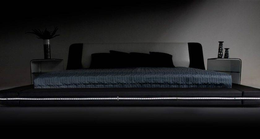 Marquee Contemporary Eco Leather Platform Bed Led