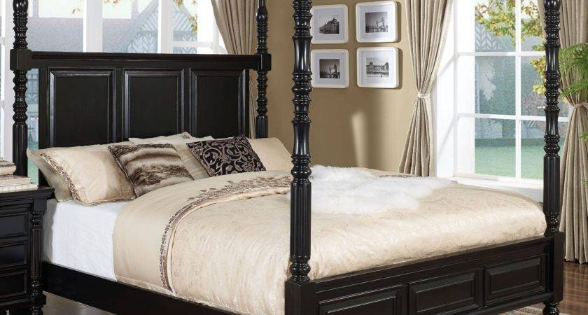 Martinique Rubbed Black Cal King Canopy Bed Drapes